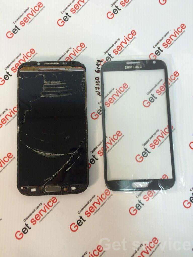 Срезанное стекло на Samsung Note 2 n7100